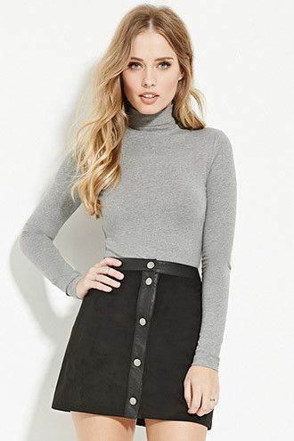 Turtleneck Crop Top   Forever 21 - 2000147538: Grey, Black, or White and Pink