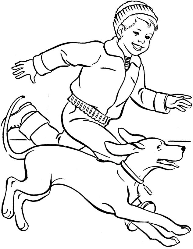 dog running together small children