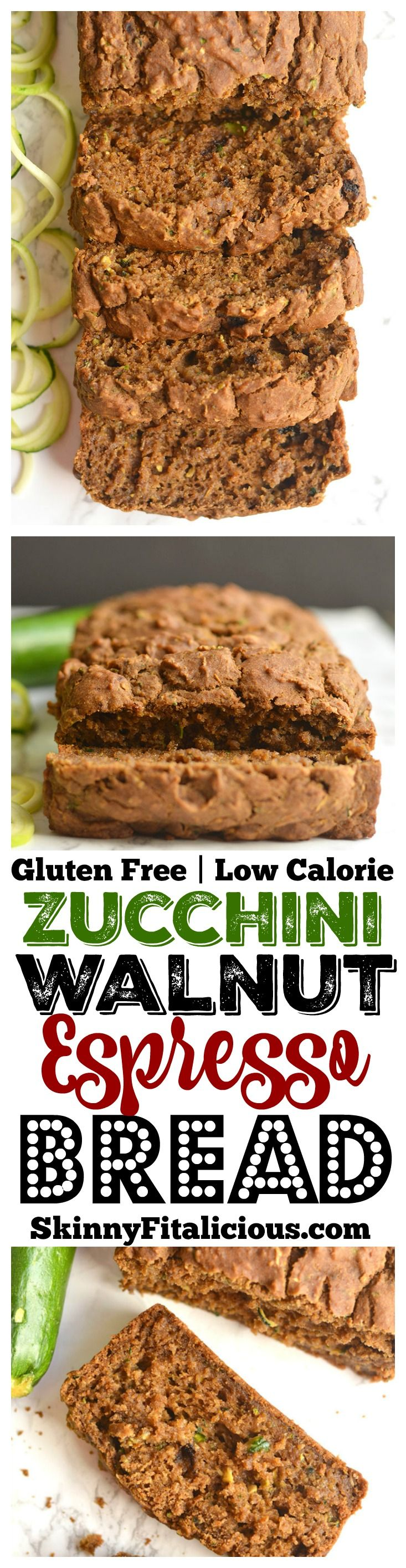 Traditional Zucchini Walnut Espresso Bread made healthy & spiked with espresso for a velvety texture you can't resist. Perfect for breakfast or an anytime snack. Gluten Free + Low Calorie