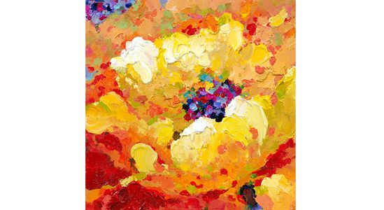 Add Wow factor with this gorgeous hand-painted oil on canvas created by renowned artist Marie Frederique - Yellow Flower, 40x40