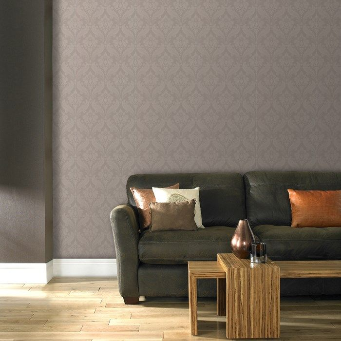 Vintage Flock Wallpaper by Kelly Hoppen - Gray Damask Wall Coverings by Graham  Brown