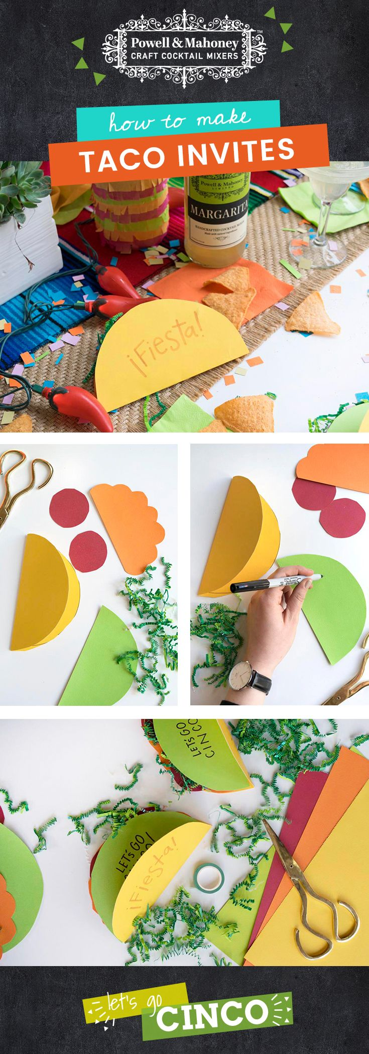 Taco bout a cute invite! Tell your amigos about your next fiesta with these invitations: 1- Cut a large circle in yellow paper and fold in half.  2- Cut out a half circle of paper and write party info on this piece.  3- Cut out additional taco ingredients in various colors.  4- Glue ingredients to half circle and attach to one side of the inside of the taco.  5- Fiesta! #CraftYourCocktail