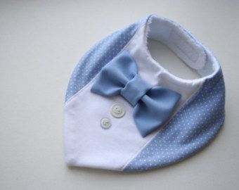 Bow tie bib baby bandana bib removable bow tie, nice baby shower, baptism / christening gift for newborn, infant, light blue