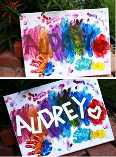 Name painting for kids Sticky tape, roller paint, sponges! Do this on a piece of material & you have made a mat!!