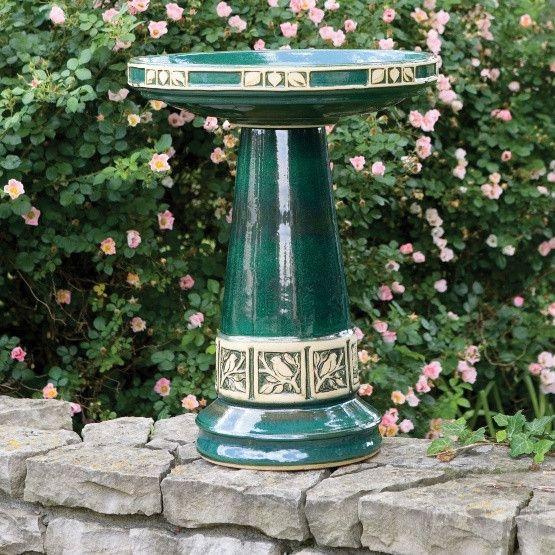 Burley Clay Zanesville Glazed Juniper Green Ceramic Bird Bath