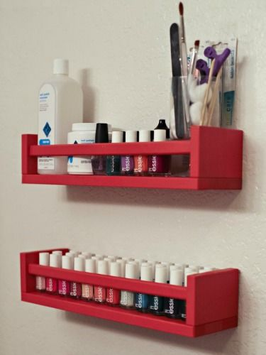 Use spice jars holders to keep nail polish and other beauty supplies within easy reach in your bathroom.