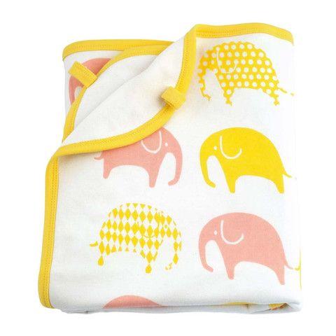 """Babyssimo.de - Babydecke """"Elefant"""", gelb-pink"""