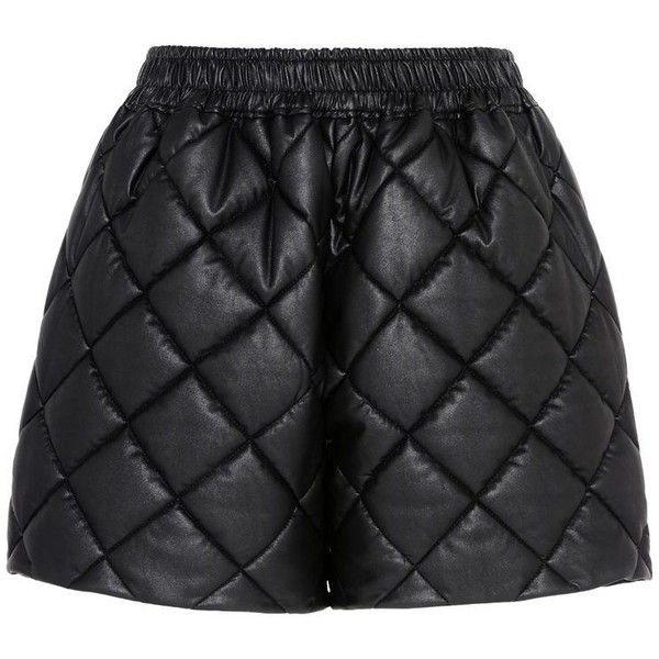 Stella McCartney Cesira Quilted Shorts ($495) ❤ liked on Polyvore featuring shorts, black, elastic high waisted shorts, stretch waist shorts, padded shorts, high rise shorts and high waisted shorts