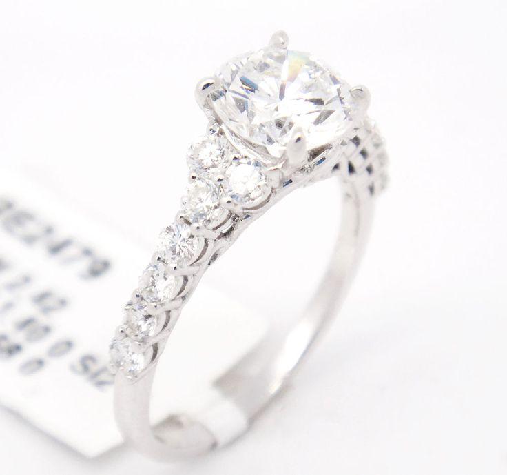 Chic 14k White Gold SI2/G 2.08CT,Round Diamond Pave Accents Engagement Ring,6.5 #TheDiamondGuru #engagement #Engagement