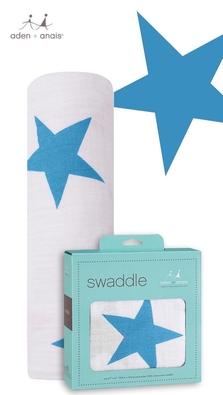 No matter how you're using our 100% cotton muslin brilliant blue star swaddle—stroller cover, burp cloth or nursing cover to name just a few—it surrounds your little one in comfy goodness round the clock.
