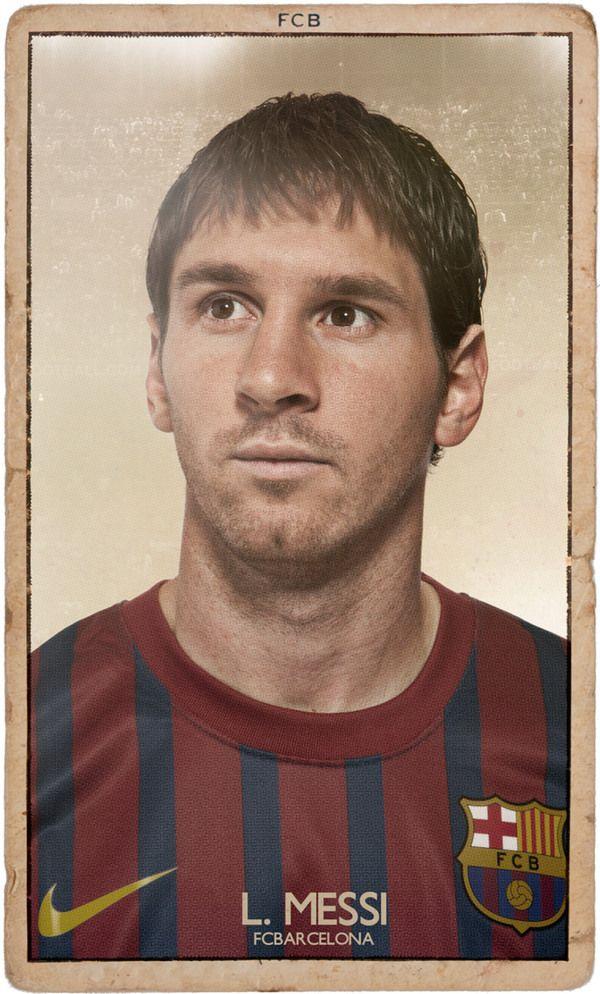 "Lionel Messi, ""Tarjetas del club Barcelona Vintage"" de DIVER AND AGUILAR."
