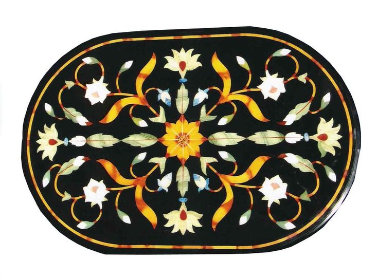 2'x3' Black Marble Oval Dining Table Top Handmade Marquetry Home & Garden Table  #AgraHeritageMarbleCrafts #ArtsCraftsMissionStyle #Black #Marble #DiningTable #Handmade #Floral #OvalTable #CenterTable #Marquetry #InlaidTable #GardenTable #DecorativeTable