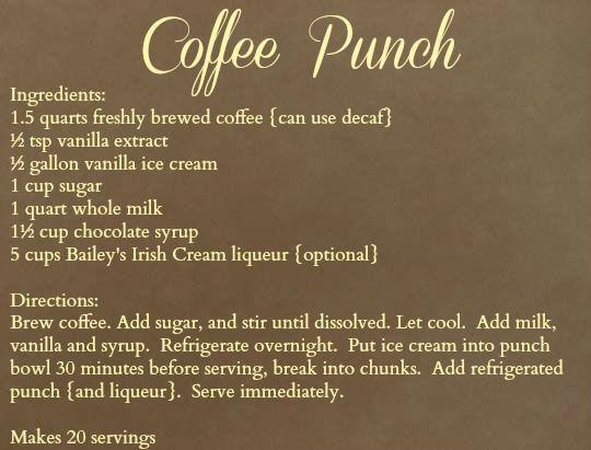 Carolina Charm: Coffee Punch.