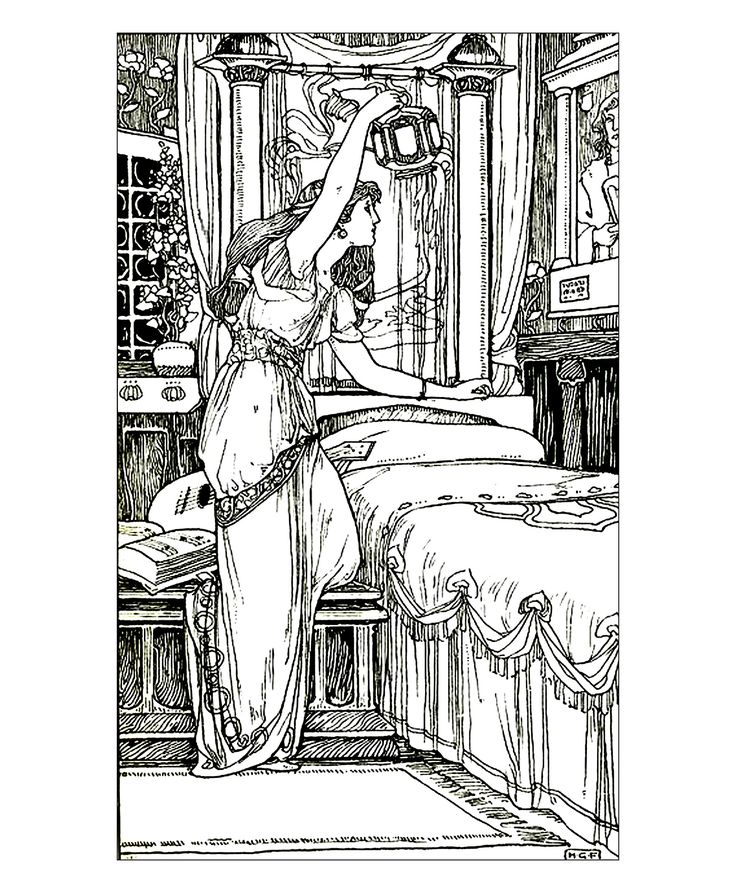 Free Coloring Page Drawing Vintage Woman Lamp A Image