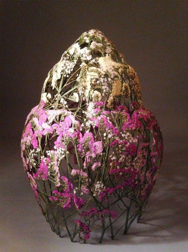Sculpture en fleur pressées