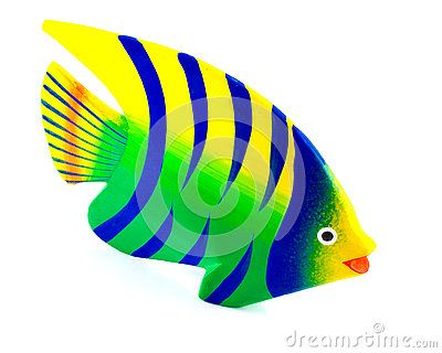 A brightly painted wooden fish ornament