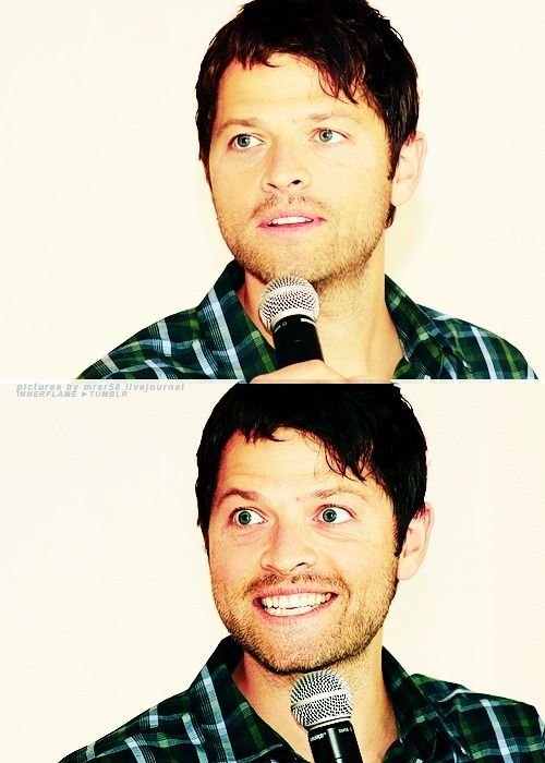 Misha Collins. From adorable to crazy in 1.2 seconds...