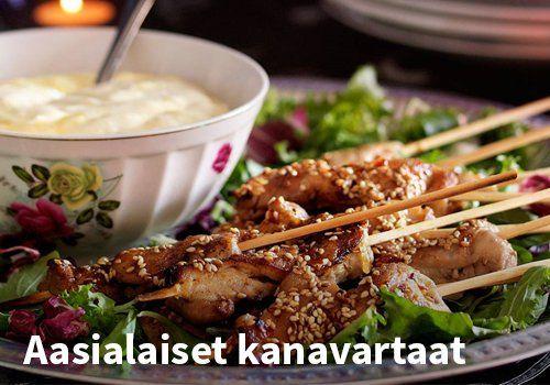 Aasialaiset kanavartaat, Resepti: Arla #kauppahalli24 #resepti #kanavartaat #vartaat #grilliruoka #ruokaideat