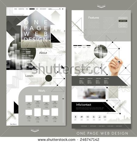 modern one page website template design with blurred background - stock vector