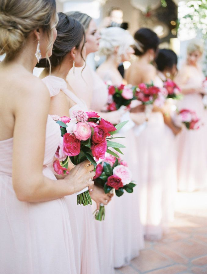 Pink and magenta wedding bouquets: http://www.stylemepretty.com/2017/05/22/spanish-wedding-rancho-las-lomas/ Photography: McCune - http://mccune-photography.com/