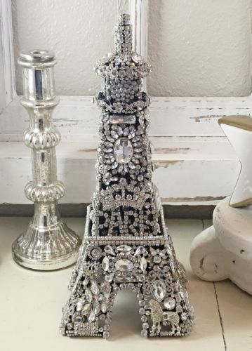 FRENCH-Rhinestone-EiFFeL-Tower-PaRiS-old-vtg-brooch-earring-poodle-jewelry-Tree