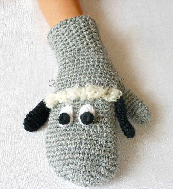Knitting Pattern For Koala Bear Mittens : Sheep Lamb Crochet Gloves Mittens Animal Puppet Unisex Boy Girl Teen Women Me...