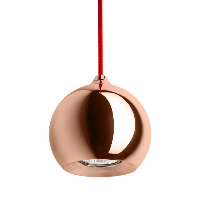 DESTY I pendant red copper 230V GU10 50W Our R12085. Pendant light with a shade and ceiling base in chrome or copper. The chrome version is supplied with a black textile cable. The copper version is supplied with a red textile cable.  #rendl_lighting #lightdesign#interiordesign #interiorinspiration#lighting #interiordecor #lamp#homedecor #moderndesign #chandelier#livingroom #bedroom #interiores#decoracaodeinteriores #dream_interiors