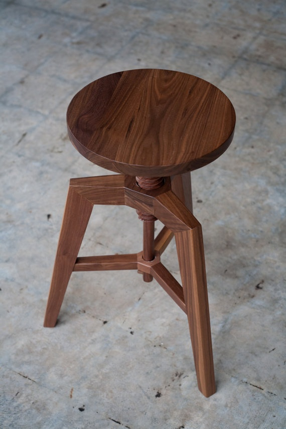 Modern Solid Walnut Adjustable Stool by hedgehouse on Etsy, $225.00