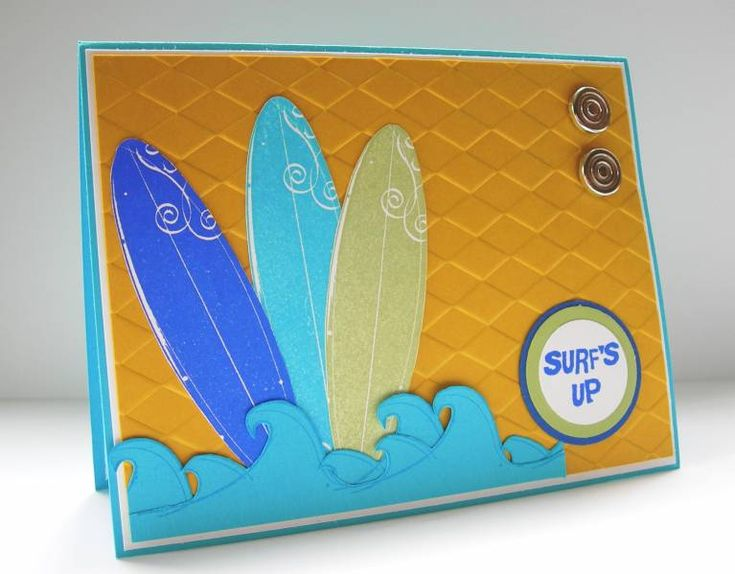 Just Surfing, Surf's Up card-triple layer circle punches for sentiment stamp