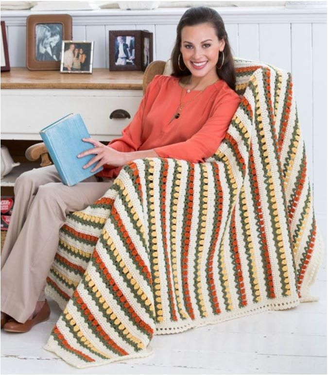 This free crochet afghan pattern is reminiscent of tulip fields in the Netherlands.