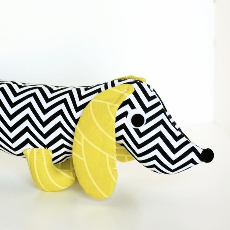 $28 - Black and White Dachshund Plush Toy