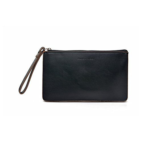 """DAVIDJONES Women's Synthetic Leather Crossbody Wristlet Clutch with Wrist Strap  Double face PU designed wristlet purse for easy clean  Clean stitching,high quality metal accessories and the print lettering logo decent the all-in-one clutch  Top zipper closure and 2 compartments inside;spacious for Apple iPhone 7 7 Plus 6 6S Plus / Samsung Galaxy S7 S6 Edge Plus / Note 7/5/4/3;Dimensions(inches): 9.5""""(L)x0.8""""(W) x5.5""""(H);Weight(pounds):0.44lbs  1 wrist strap for carrying in hand and 1 ..."""
