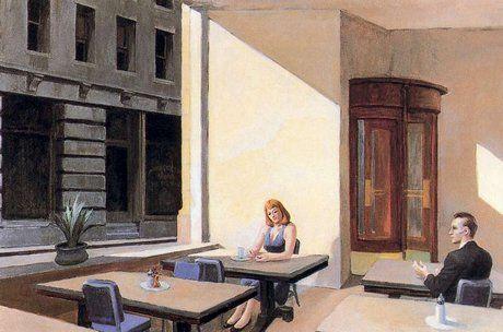 Hopper; sunlight in a cafeteria.