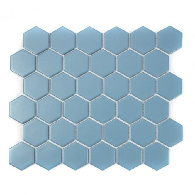 Hexagon Teal Matt 5 1cm X 5 1cm 32 5cm X 28 1cm Mosaic Tile In