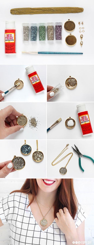 STEPS | Faux Druzy Necklace & Earrings
