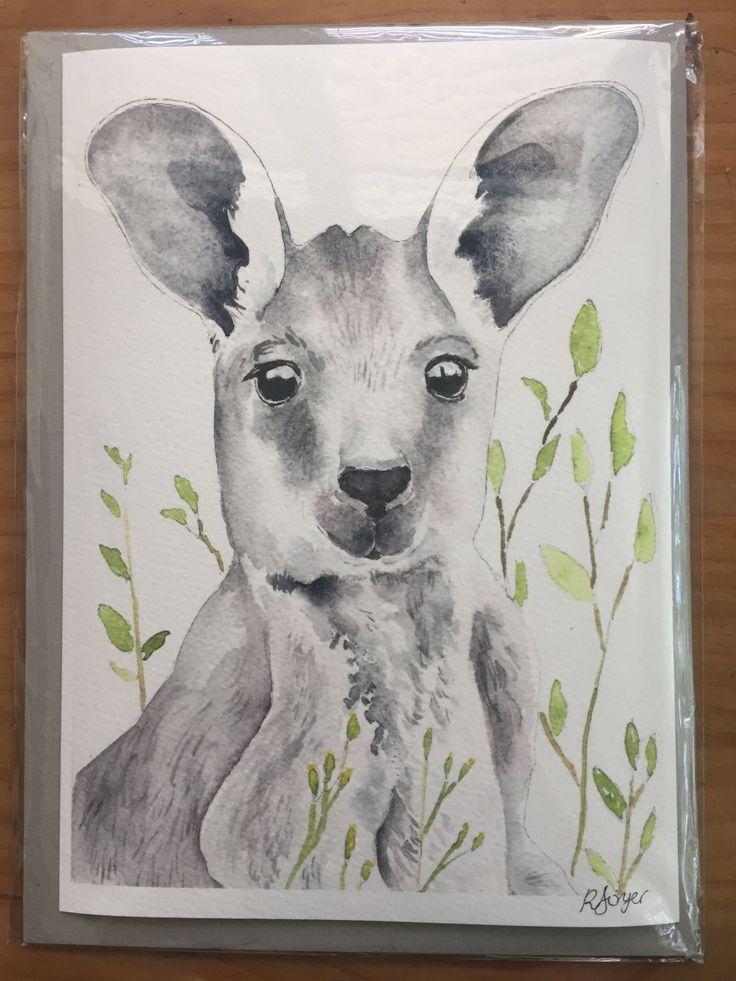 Wallaroo - A4 Fine Art Giclée Print of watercolour painting of an Australian wallaroo by LittleRowanRedhead on Etsy