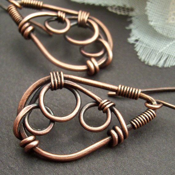 Wire Wrapped Jewelry Handmade Earrings Copper by IntuitiveGlass