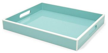 Elle Lacquer Serving Tray, Turquoise contemporary-serving-trays