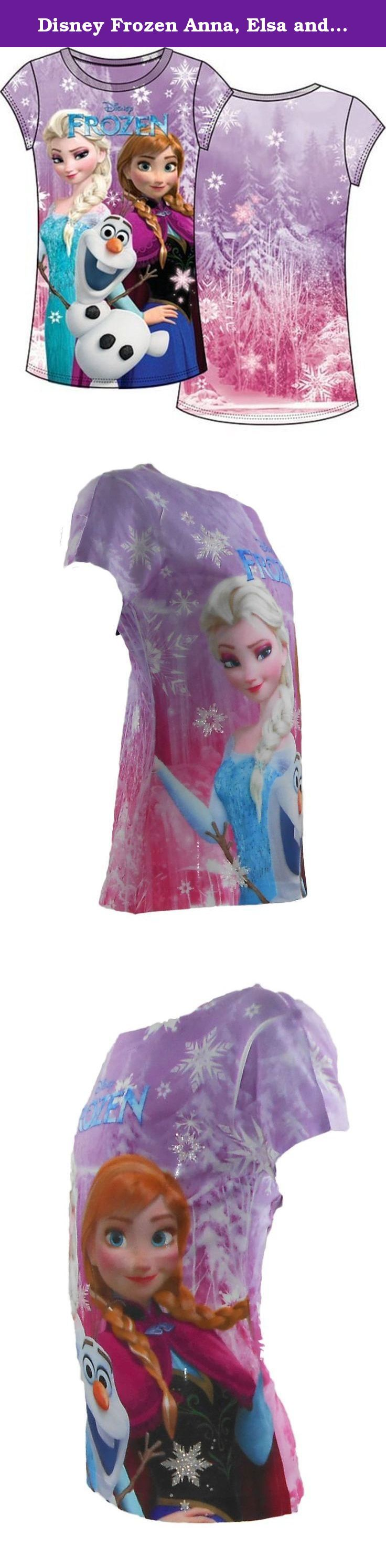 Disney Frozen Anna, Elsa and Olaf Characters, Light Pink Fitted Tee Large (Size 10-12). Get your Frozen tee shirts now! Longer and wider for a fit everyone is sure to love. Pre-shrunk and machine washable.