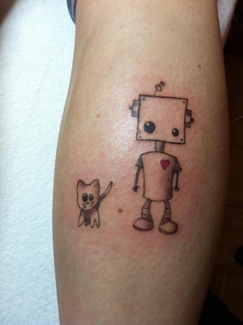 robot + cat