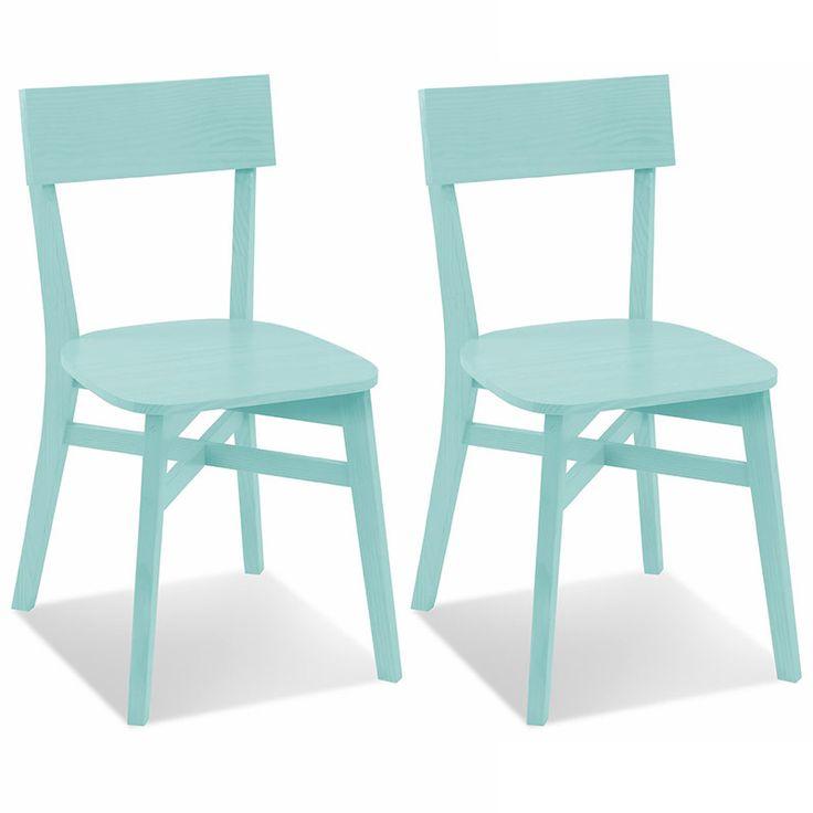 Cadeira de Madeira Maciça Pinus Bell acabamento em Verniz PU - Cor Azul