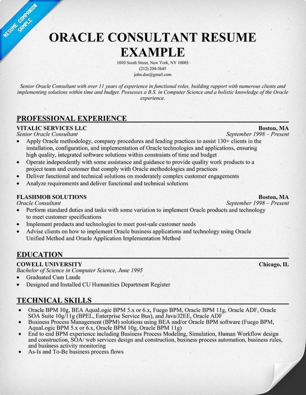 Oracle Consultant Resume (resumecompanion) Resume Samples - it consultant resume example