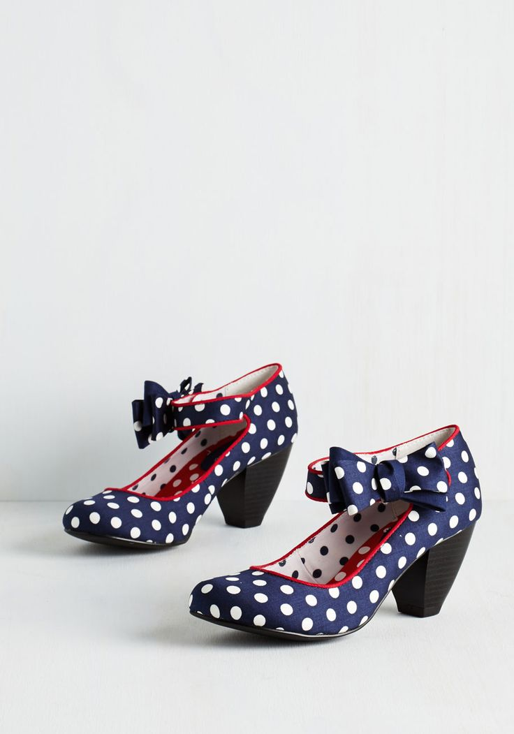 Dot on Your Heel - Mid, Blue, Polka Dots, Bows, Party, Daytime Party, Vintage Inspired, 20s, Quirky, Darling, Better, White