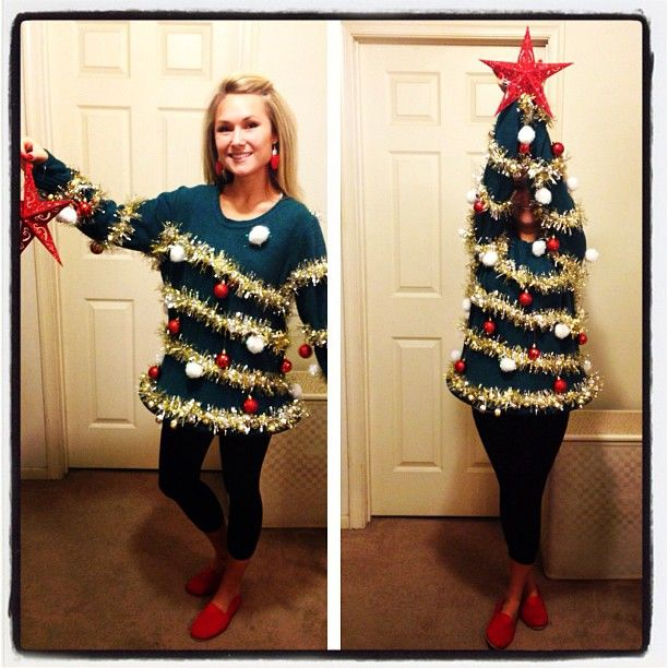 Christmas Tree Costume! Love the idea! (Ugly Christmas sweater party)