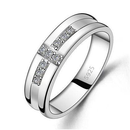 Крест Стиль Серебро 925 CZ Кристалл Обручальное Кольцо для Мужчин ювелирные изделия Из Белого Золота Цвет Обручальные Кольца Подарок для Друга или муж купить на AliExpress