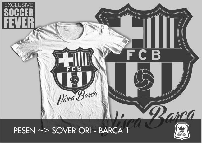 "Kaos BARCELONA ""VISCA BARCA"" [READY STOCK] SABLON    : HITAM SOFT RUBBER twitter : @BolaBolatshirt"