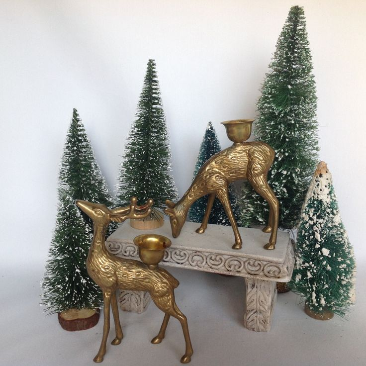 Vintage 1960s Brass Reindeer, Brass Deer, Doe and Buck Candle Holders, Retro Decor, Christmas Reindeer, Rustic Candleholders by ShabbyVintageByJan on Etsy