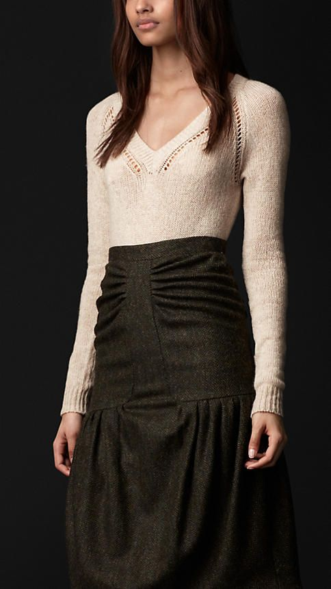 Open-Stitch Detail Cashmere Sweater | Burberry