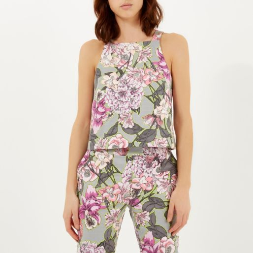 Grey floral print structured tank top £30 #riverisland