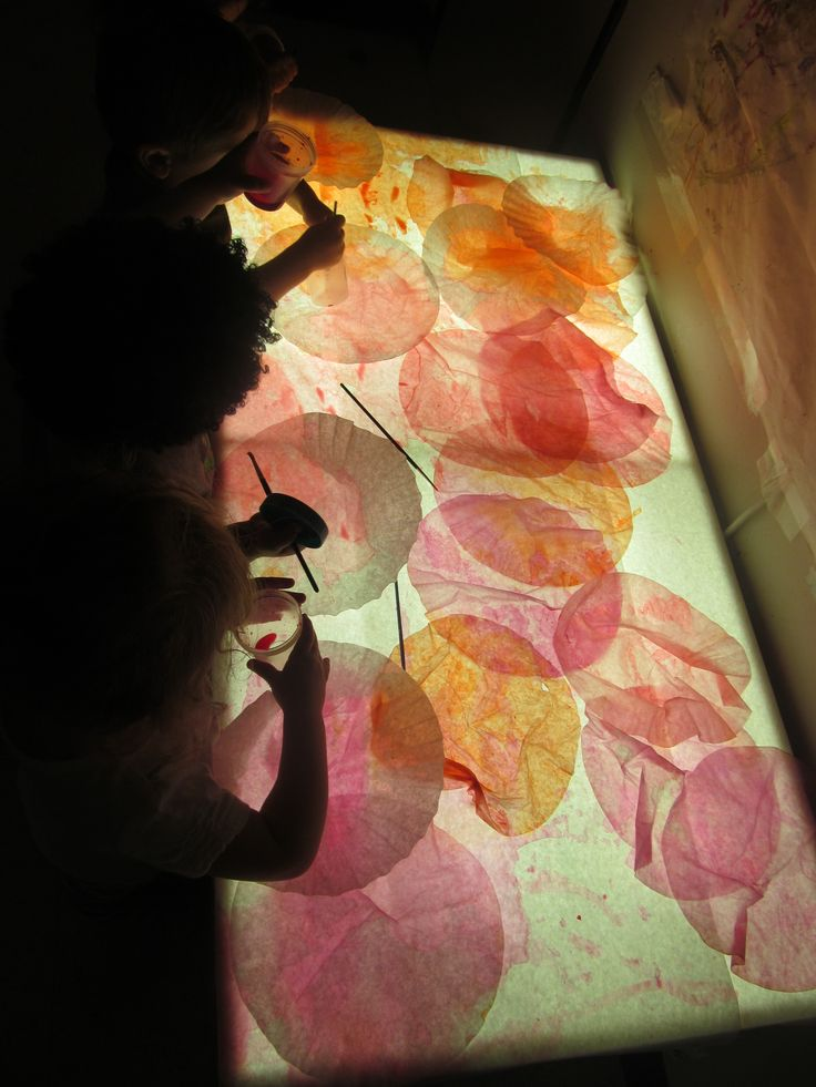"""""""The miracle is this: the more we share the more we have.""""-Leonard Nimoy-Coffee Filters, water colors and light table-Little Wonders Blog"""